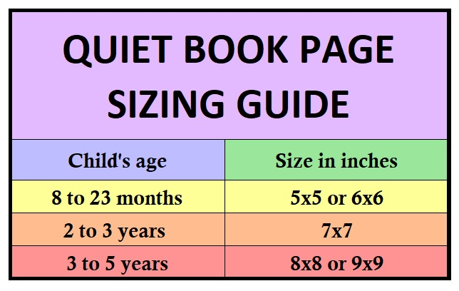 quiet book page sizes